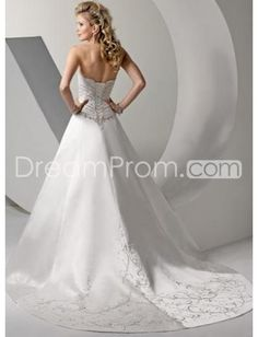 A-Line/Princess Sweetheart Chapel Train Satin wedding dress for brides 2011 style(WED1115)