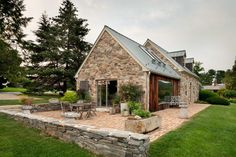 Modern redesign of the old country house with antique stone walls and exposed . - Modern redesign of the old country house with antique stone walls and exposed ceiling beams – - Rustic Country Homes, Old Country Houses, Country House Interior, Country Cottages, Vintage Country, Country Farmhouse, Country Decor, Farmhouse Decor, Facade Design
