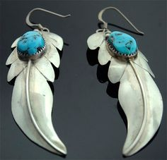 Native American Turquoise Long Sterling Silver by SITFineJewelry, $165.00
