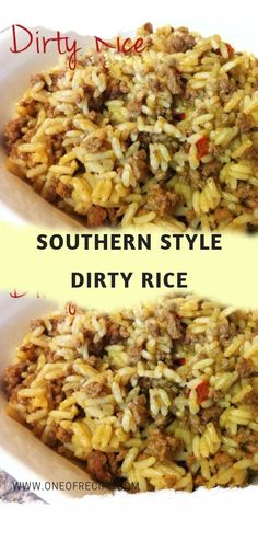 southern recipes Southern Style Dirty Rice Page 2 One Of Recipe Dirty Rice Recipe Easy, Easy Rice Recipes, Cajun Recipes, Side Dish Recipes, Soul Food Recipes, White Rice Recipes, Thai Recipes, Southern Cooking Recipes, Cajun Cooking