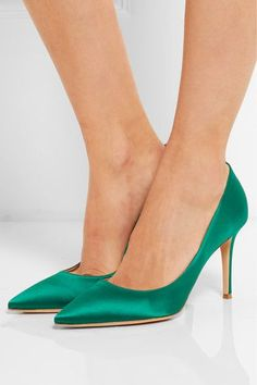 Heel measures approximately 85mm/ 3.5 inches Green satin Slip on Designer color: Emerald Made in Italy