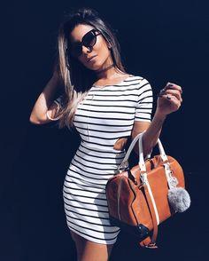 looksly - @thaylise_ferreira com vestido listrado com recortes do Verão 2017