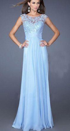 Graceful Blue Lace Paneled Maxi Prom Dress