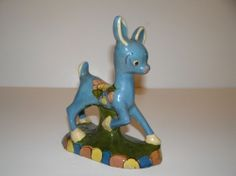 Vintage Blue Mexican Folk Art Pottery Donkey