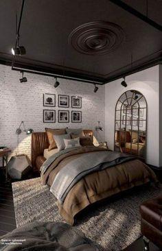 Inspirations Mens Bedroom Ideas - All Bedroom Design Cozy Bedroom, Home Decor Bedroom, Bedroom Ideas, Master Bedroom, Bedroom Rustic, Master Suite, Bedroom Art, Bed Ideas, Bedroom Furniture
