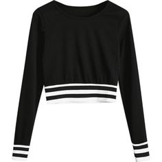 Ribbed Stripes Panel Cropped Sweatshirt ($30) ❤ liked on Polyvore featuring tops, hoodies, sweatshirts, zaful, striped sweatshirt, crop top, striped crop top, cut-out crop tops and rib top