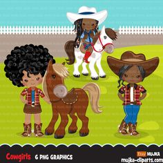 Afro Cowgirl with horse clipart, farmer characters country farm graphics, western wild west girl clip art Cowboy Birthday Party, Cowgirl Party, Cowboy And Cowgirl, Western Wild, Wild West Cowboys, Girls Clips, Girl Standing, Country Farm, Digital Stamps