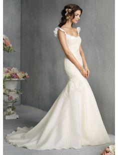Mermaid V-Neck Organza and Lace Wedding Dress