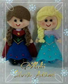 Anna e Elsa em feltro by Ateliê Sílvia Adami