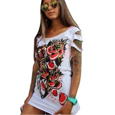Skull Hoodies, Jackets, T-Shirts, Shoes, Boots and more Newly Design Wome... fined here http://rebelstreetclothing.com/products/newly-design-women-girls-graffiti-printed-street-wear-hollow-short-sleeve-mini-dress-white