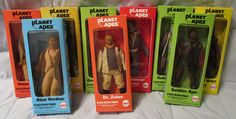 """Lot of (9) c.1967 Mego Planet Of The Apes 8"""" Action Figures In Boxes"""
