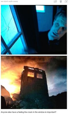 Anyone else have a feeling the crack in the window is important?  <==It's a crack; crack's leak.  The Doctor will continue traveling, and the time energy from inside the TARDIS will begin to leak out, causing a dimensional rift that will allow Rose and TenToo to pass through back into this dimension.  And that's how they manage to show up for the 50th anniversary.  (At least that's my theory!)