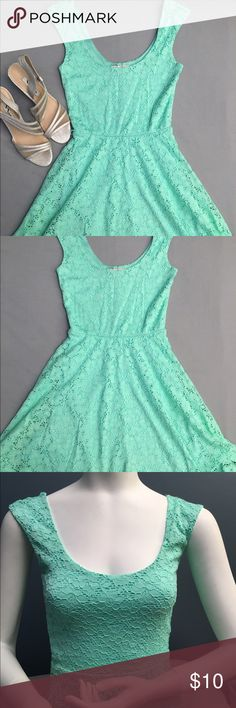Mint green summer dress Perfect dress to pair with wedges for a special occasion or for summer days. Cute lace pattern. There is string sticking out as pictured but other than that perfect condition Candie's Dresses