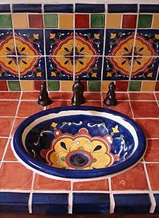 talavera tiles and sink bathroom. Largest online selection of Talavera tiles at http://www.lafuente.com/Tile/Talavera-Tile/