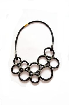 Circles necklace, black grey neoprene geometric necklace,statement necklace, industrial minimalist jewelry