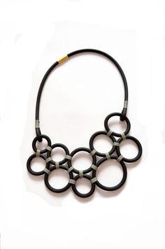 Circles necklace, black grey neoprene geometric necklace,statement necklace, industrial minimalist jewelry