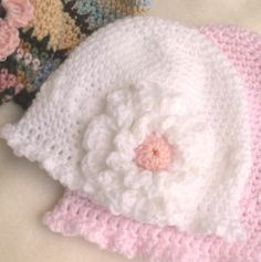 Baby Hat Crochet Pattern - Instant Download Pdf Delicate Single Crochet Beanie 3 sizes for Baby with Flowers and Pom Pom