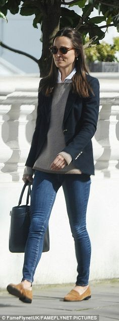 Look chic with Pippa's navy tote #DailyMail Click 'Visit' to buy now