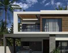 ISLAMABAD HOUSEYEAR = 2013DESIGN & VISUALIZED Modern House Floor Plans, Modern Exterior House Designs, Design Exterior, Dream House Exterior, New House Plans, Facade Design, Interior Design, House Outside Design, Design Your Dream House