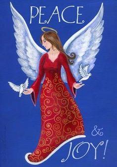 angel of peace J Huber Christmas Angel Ornaments, Christmas Scenes, Christmas Rock, Winter Christmas, Slate Art, Christmas Fabric Crafts, Angels Beauty, Angel Drawing, I Believe In Angels