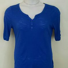 Cute V Neck Women's Top Pretty Royal Blue With Buttons LEI Tops