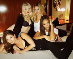 Victoria's Secret models Lily Aldridge, Lily Donaldson, Doutzen Kroes and Joan Smalls have a reunion in Paris. - HarpersBAZAAR.com