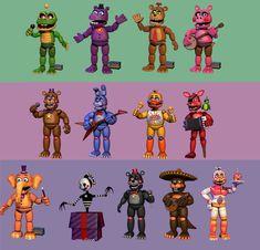 FNaF 6 - All Animatronics by on DeviantArt Fnaf 5, Anime Fnaf, Fnaf Drawings, Cool Drawings, Five Nights At Freddy's, Evil Teddy Bear, Connect, Pokemon Starters, Freddy 's