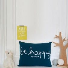 "Coussin ""Be Happy My baby"" - Bleu"