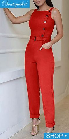 Sleeveless Solid Color Button Design Jumpsuit is part of Jumpsuit fashion - Fashion Wear, Fashion Pants, Girl Fashion, Fashion Outfits, Casual Work Outfits, Work Attire, Chic Outfits, Jumpsuit Pattern, Jacket Pattern