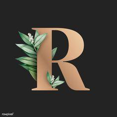 Leaves Wallpaper Iphone, Wallpaper Backgrounds, Black Backgrounds, Graphic Design Fonts, Lettering Design, R Letter Design, Free Illustrations, Illustration Art, Alphabet Capital Letters