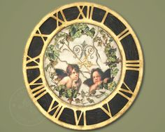 The shabby chic style wall clock decorated with cracks, golden flakes, cherubims and the ivy, my favorite plant.