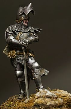 I present to you the news of Tartar Miniatures- November. European Knight, XIV century Sculpted by Oleg Олег Погосян Boxart by Sergey P. Medieval Knight, Medieval Armor, Caballero Andante, Armadura Medieval, Military Figures, Knight Armor, Fantasy Miniatures, Fantasy Armor, Knights Templar