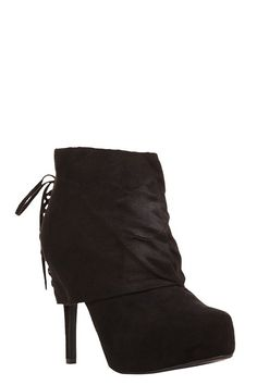 Black Suede Lace-Up System Booties (Wide Width) | New Arrivals