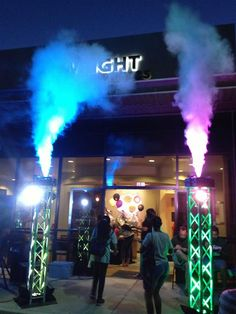 CO2 Fog Blast Stage Lighting effect on truss pillars with moving head lights creating a fantastic exciting entrance