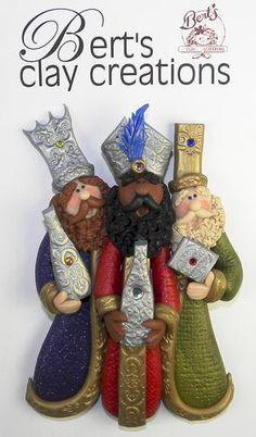 THREE KINGS Wise Men ORNAMENT por BertsClayCreations en Etsy, $22.00