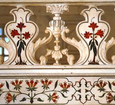 Detail of delicate Jali-inlay-work on marble using gems and precious stones, Taj Mahal, Agra, India