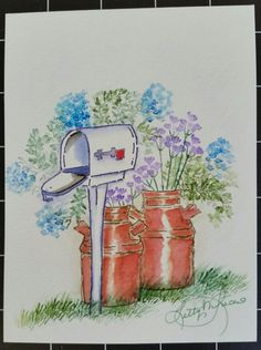 My Art Impressions Watercolor Stamping - Country Roadside Mailbox created by Letty Lucero.