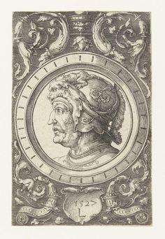 Ornament met kop van een soldaat, Lucas van Leyden, 1527