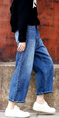 0df2caf6740 SUMMER THIN WIDE LEG DENIM PANTS WOMEN COWBOY TROUSERS K2854. Fantasylinen  · COWBOY PANTS-Fantasylinen · Women Vintage Blue Denim Pants Casual Cotton  ...
