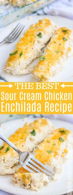 Sour Cream Chicken Enchiladas - The Diary of a Real Housewife - YUM! I love this Sour Cream Chicken Enchilada Recipe. You are in the right plac - Rotisserie Chicken Enchiladas, Chicken Enchilada Casserole, Chicken Enchilada Recipes, Sour Cream Chicken Casserole, Easy Enchilada Recipe, Pozole, Kfc, Recipes, Food Cakes