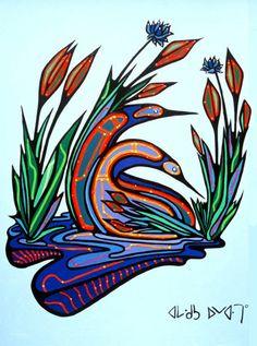 Loons in Love Inuit Kunst, Inuit Art, Claudia Tremblay, Kunst Der Aborigines, Woodland Art, Aboriginal Painting, Canadian Art, Native Canadian, Haida Art