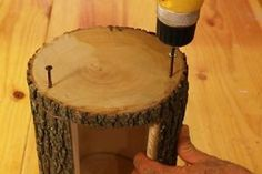 Learn how to make a hanging Bird Feeder from a natural LOG. This homemade DIY bird feeder will attract bluebirds, goldfinches, etc. to yard or garden. Bird Feeder Plans, Bird House Feeder, Hanging Bird Feeders, Diy Bird Feeder, Squirrel Home, Vinyl Blinds, Homemade Bird Feeders, Bird Bath Garden, Wood Projects That Sell