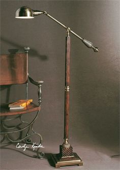 Dalton Pharmacy Task Floor Lamp by Uttermost on sale at Zin Home. This handsome standing arch floor lamp has a burnished wood tone finish with aged bronze metal detail. Shabby Chic Lamp Shades, Rustic Lamp Shades, Modern Lamp Shades, Modern Floor Lamps, Cool Floor Lamps, Small Lamp Shades, Ceiling Lamp Shades, Wooden Lampshade, Paint Lampshade