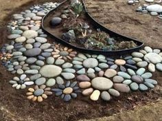 Over 20 of the BEST Garden Ideas & DIY Yard Projects - everything from yard art, planters, garden stones, green houses, & more! Decorative Stepping Stones, Garden Stepping Stones, Big Garden, Garden Beds, Landscaping With Rocks, Backyard Landscaping, Landscaping Ideas, Backyard Ideas, Rock Garden Design