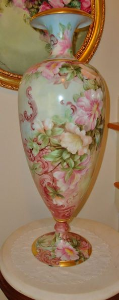 "Most Amazing Antique Limoges France Huge 22"" Bolted Floor Vase Artist signed and dated 1898"