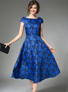 Shop for high quality Elegant Short Sleeve Big Hem Skater Dress online at cheap prices and discover fashion at Ezpopsy.com