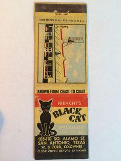 Vintage Matchcover FRENCHY'S BLACK CAT RESTAURANT San Antonio TX 1940s