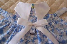 Handmade XS-S Dog Dress Soft Blue with White Daisies Lace Bow