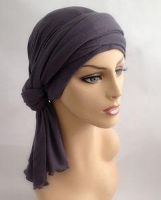 Gray Turban Jersey Chemo Hat Head Wrap Alopecia Scarf, Hijab, One Piece Wrap Turban Mode, Turban Hijab, Chemo Hair Loss, Scarf Styles, Hair Styles, Head Wrap Scarf, Turban Style, Mode Hijab, Scarf Hairstyles