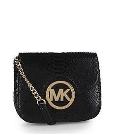 88a581768aa0 MICHAEL Michael Kors Patent Python Fulton Cross-Body Bag Cheap Michael Kors